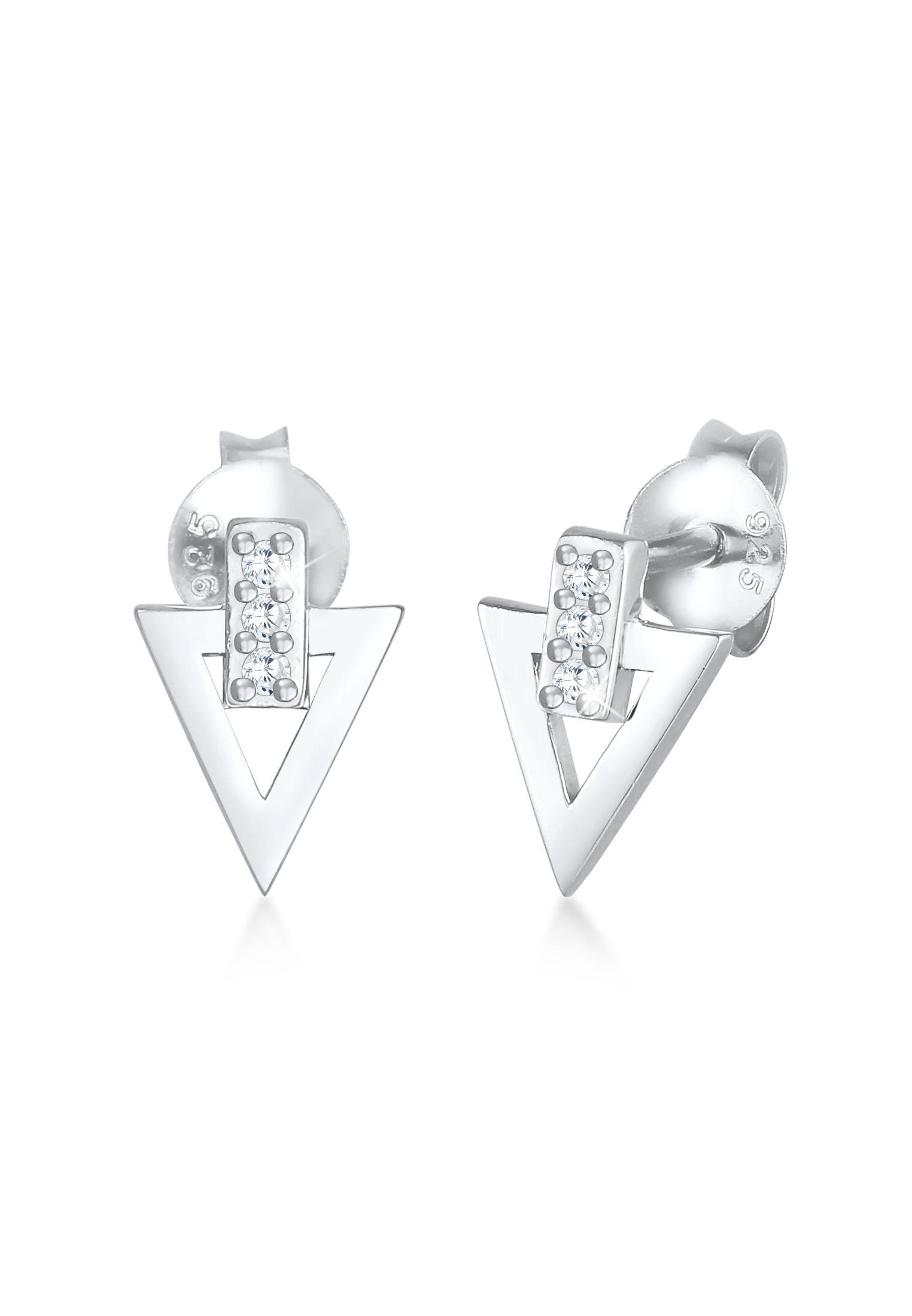 Ohrstecker Dreieck   Zirkonia ( Weiß )   925er Sterling Silber