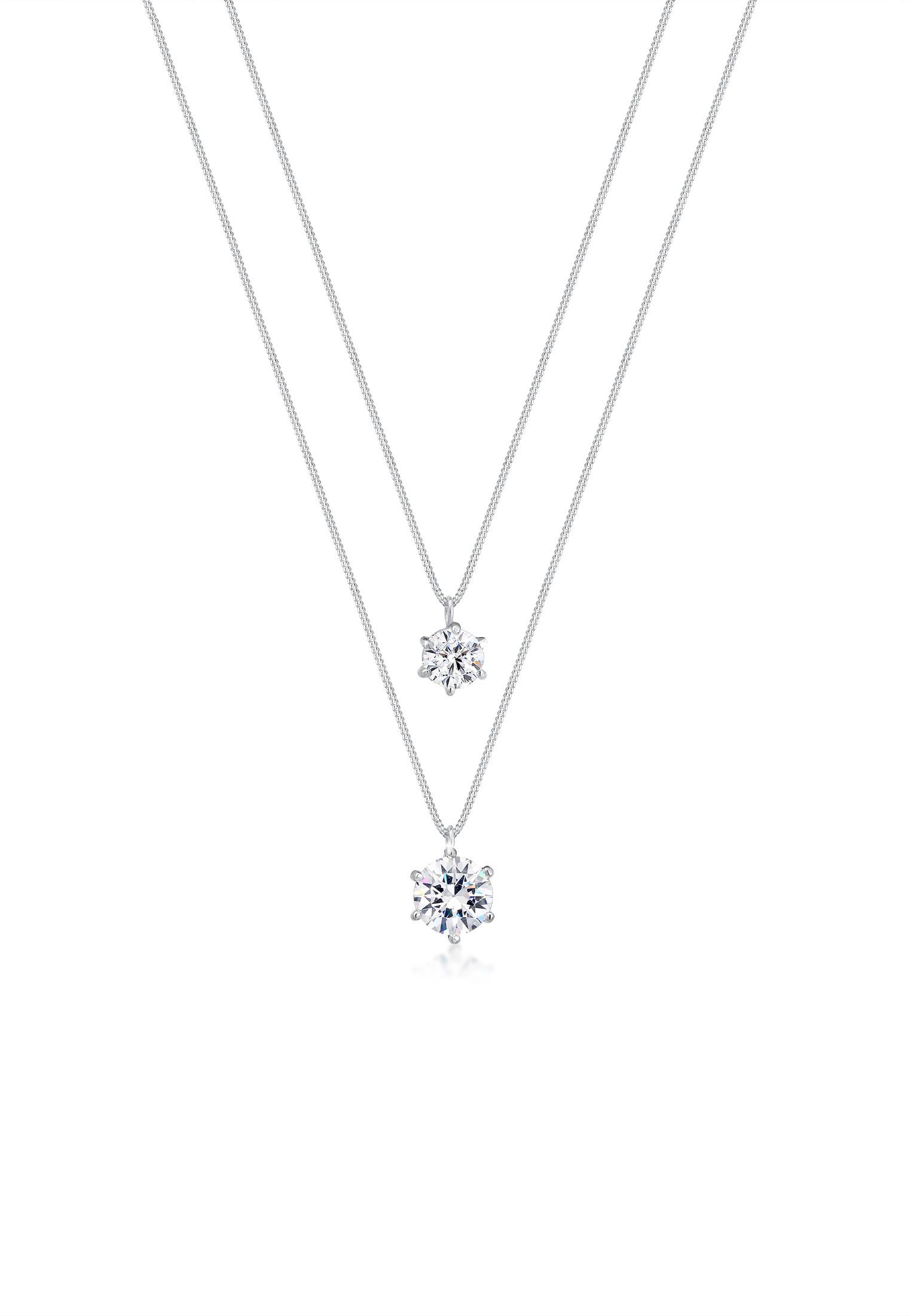 Layer-Halskette | Kristall ( Weiß ) | 925er Sterling Silber