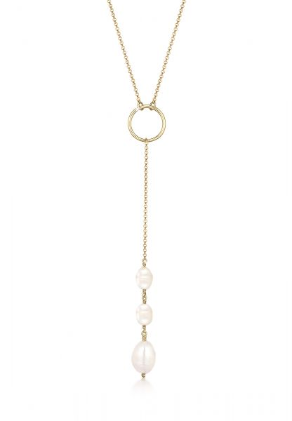 Halskette Kreis | Süßwasserperle | 925 Sterling Silber vergoldet