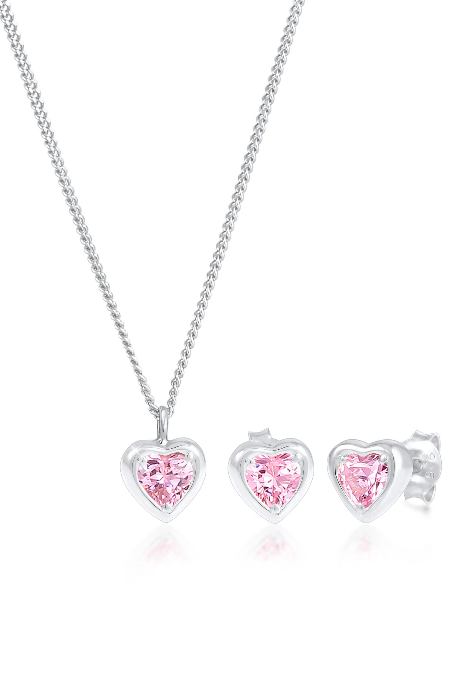 Schmuckset Herz   Zirkonia ( Pink )   925er Sterling Silber