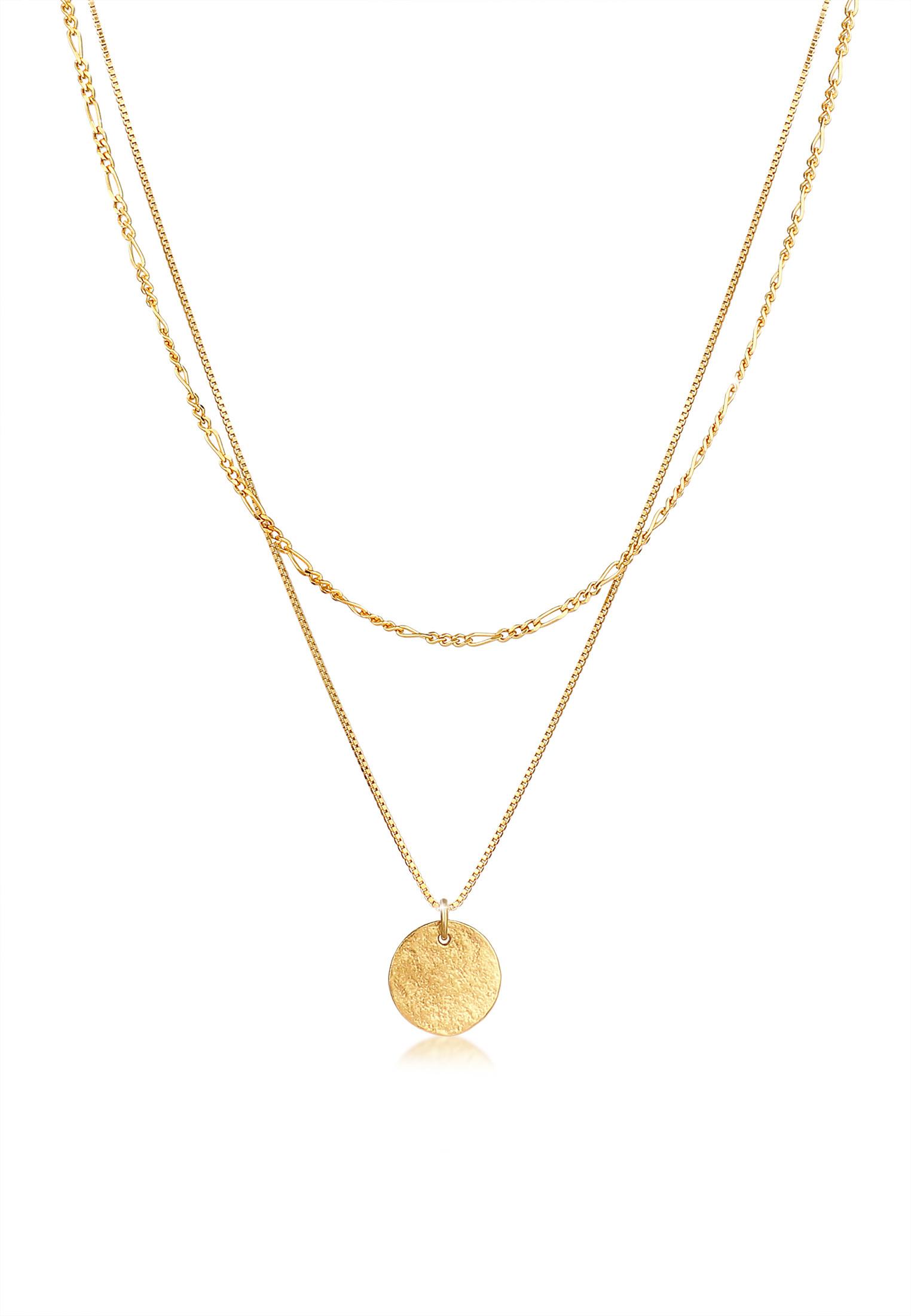 Layer-Halskette Münze Figaro | 925 Sterling Silber