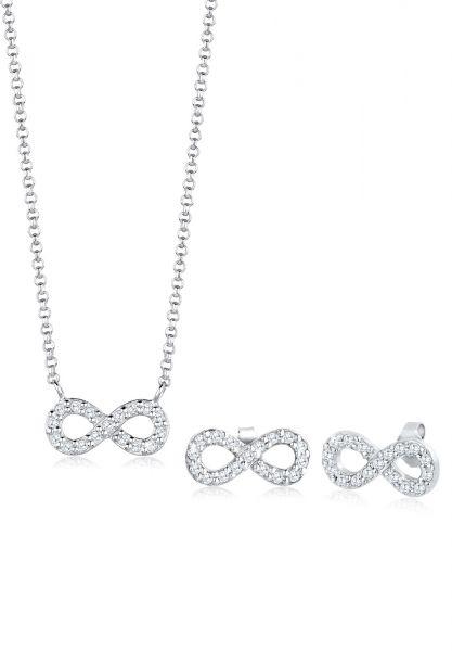Elli Schmuckset Infinity Zirkonia 925 Sterling Silber