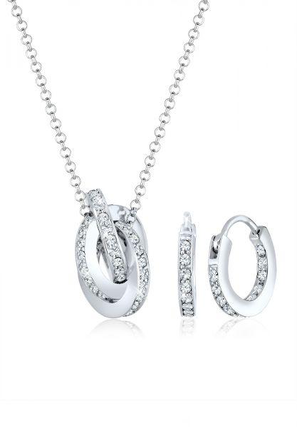 Elli PREMIUM Schmuckset Geo Kreis Knoten Kristalle 925 Silber