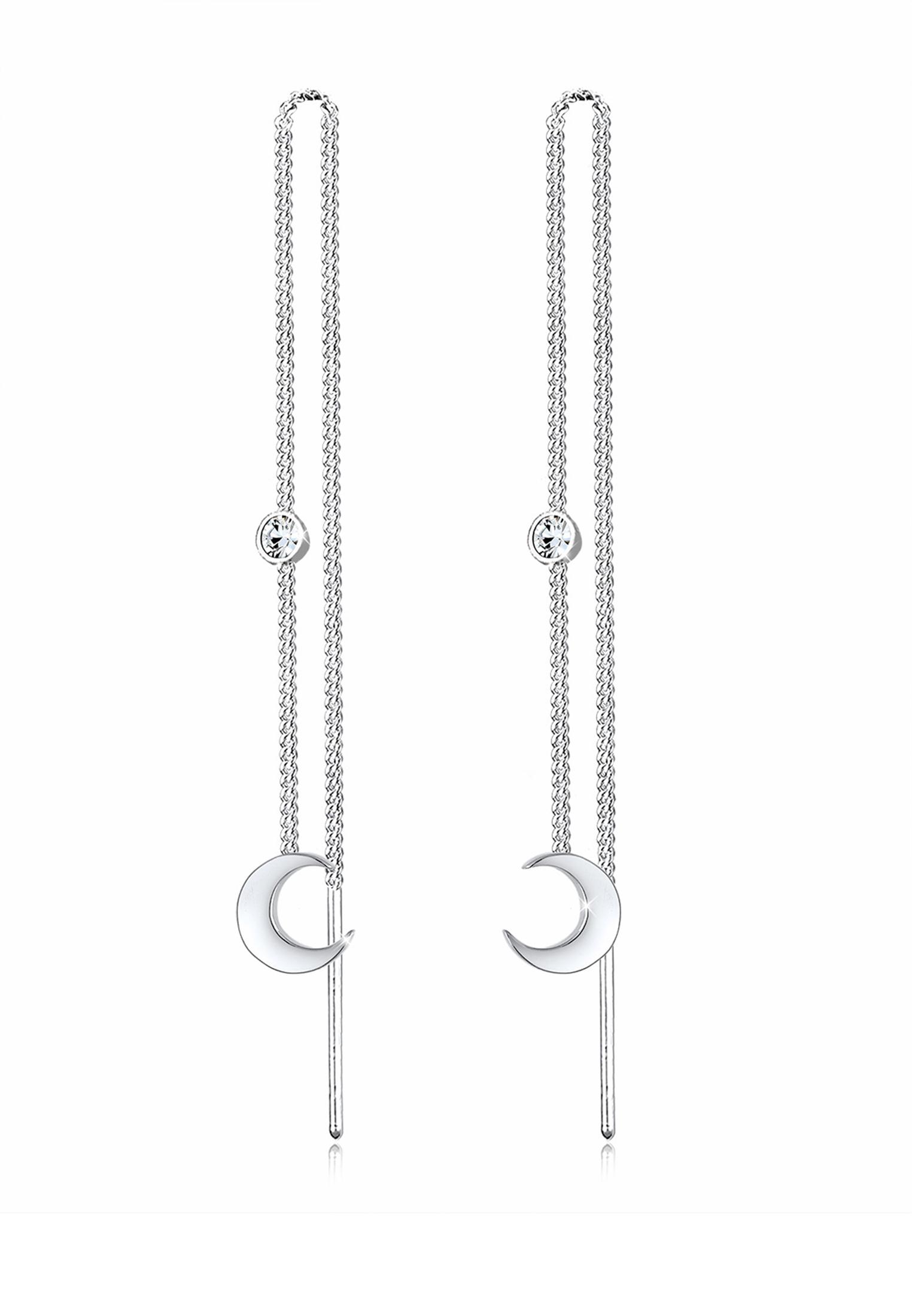 Ohrhänger Astro   Kristall ( Weiß )   925er Sterling Silber