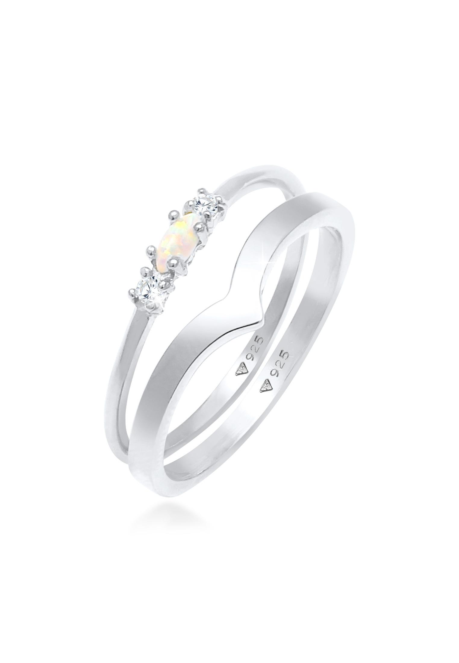 Ringset   Opal ( Weiß )   925er Sterling Silber