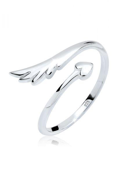 Elli Ring Herz Flügel Feminin Offen 925 Silber