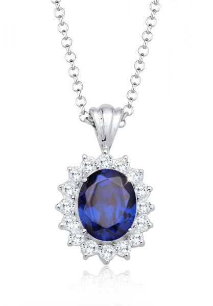 Elli Halskette Royal Saphirblau Zirkonia 925 Sterling Silber