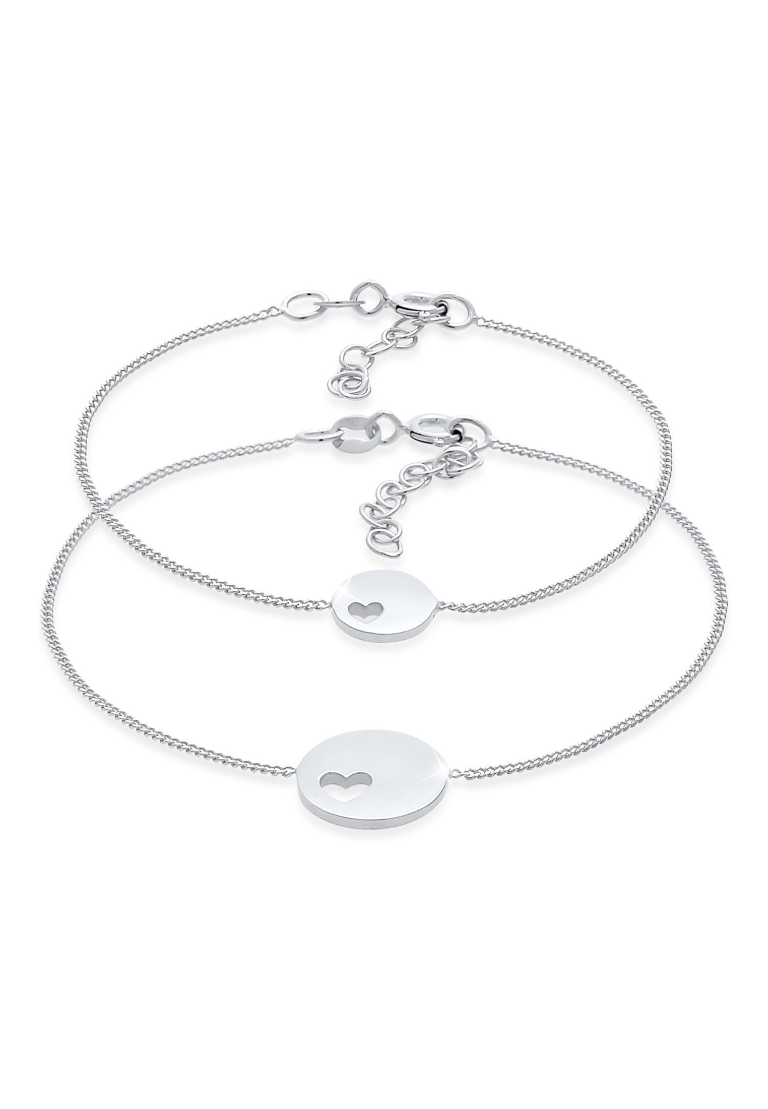 Mutter-Kind-Armbandset Herz   925er Sterling Silber