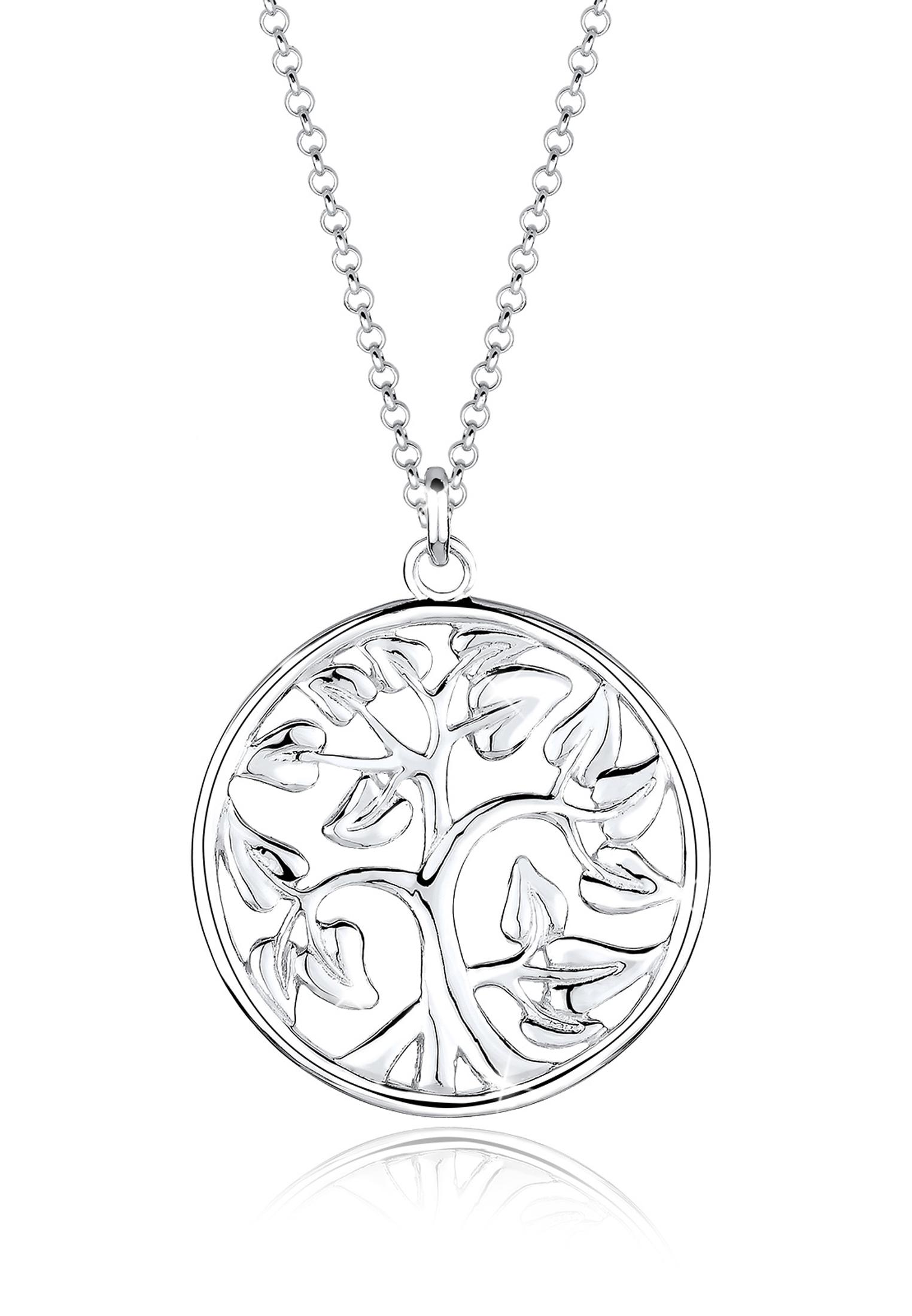 Lange Halskette Lebensbaum   925er Sterling Silber