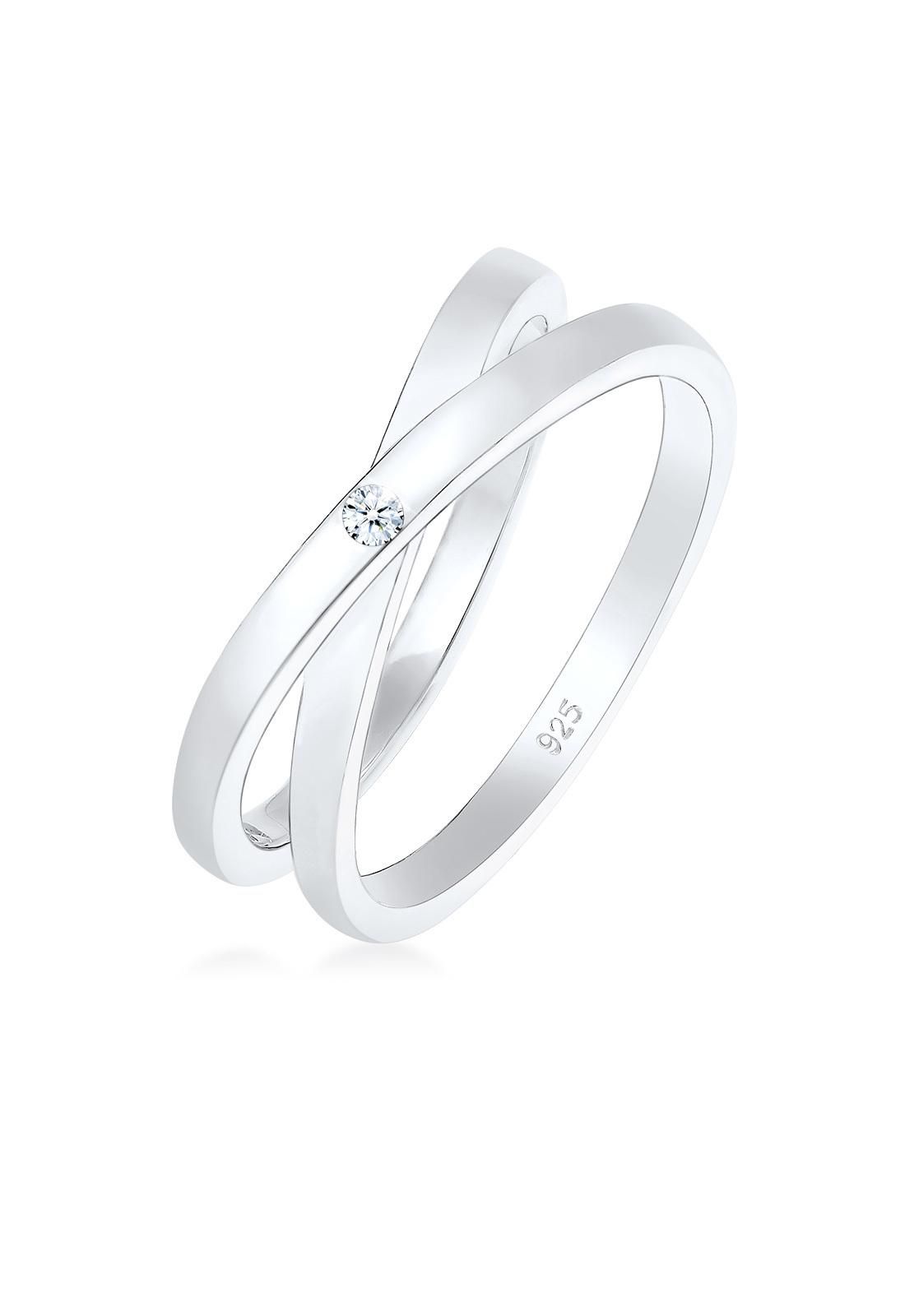 Wickelring | Diamant ( Weiß, 0,015 ct ) | 925er Sterling Silber