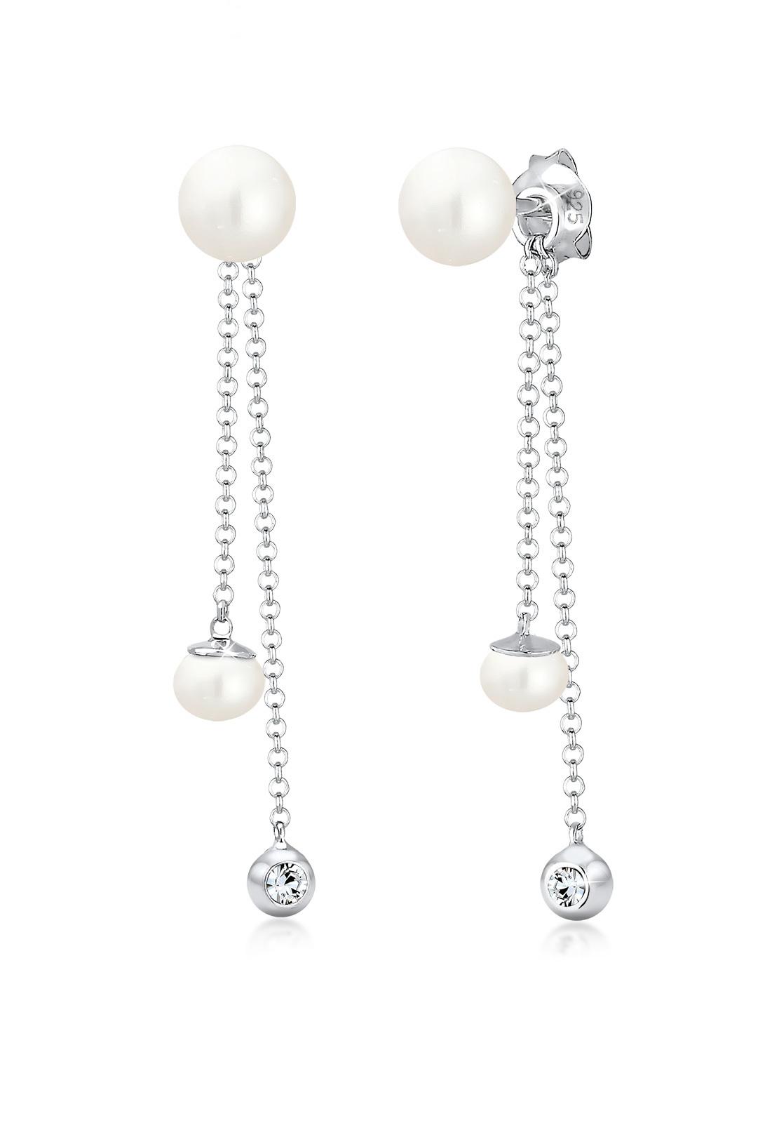 Ohrhänger Ear Chain | Süßwasserperle, Kristall ( Weiß ) | 925er Sterling Silber