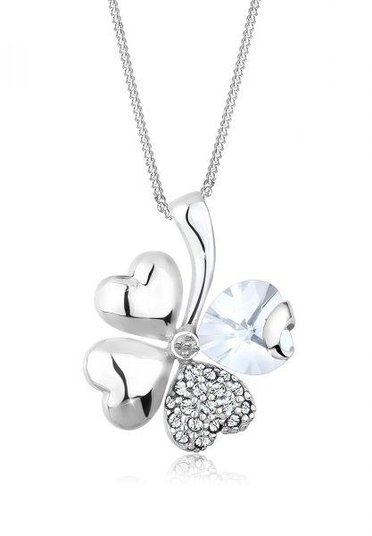 Halskette Kleeblatt | Kristall ( Weiß ) | 925er Sterling Silber
