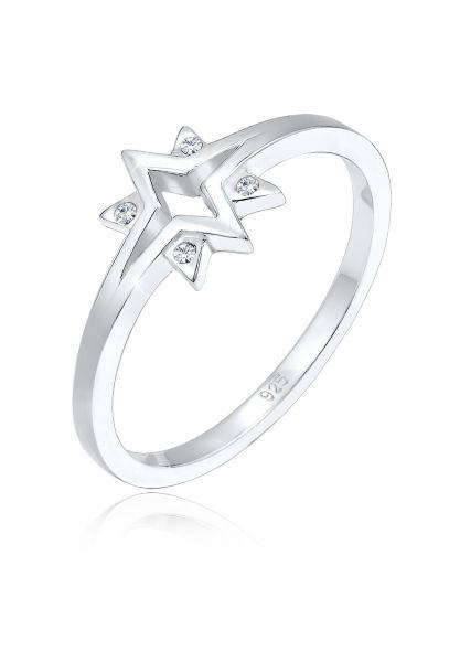Elli Ring Sterne Starburst Kristalle 925 Silber