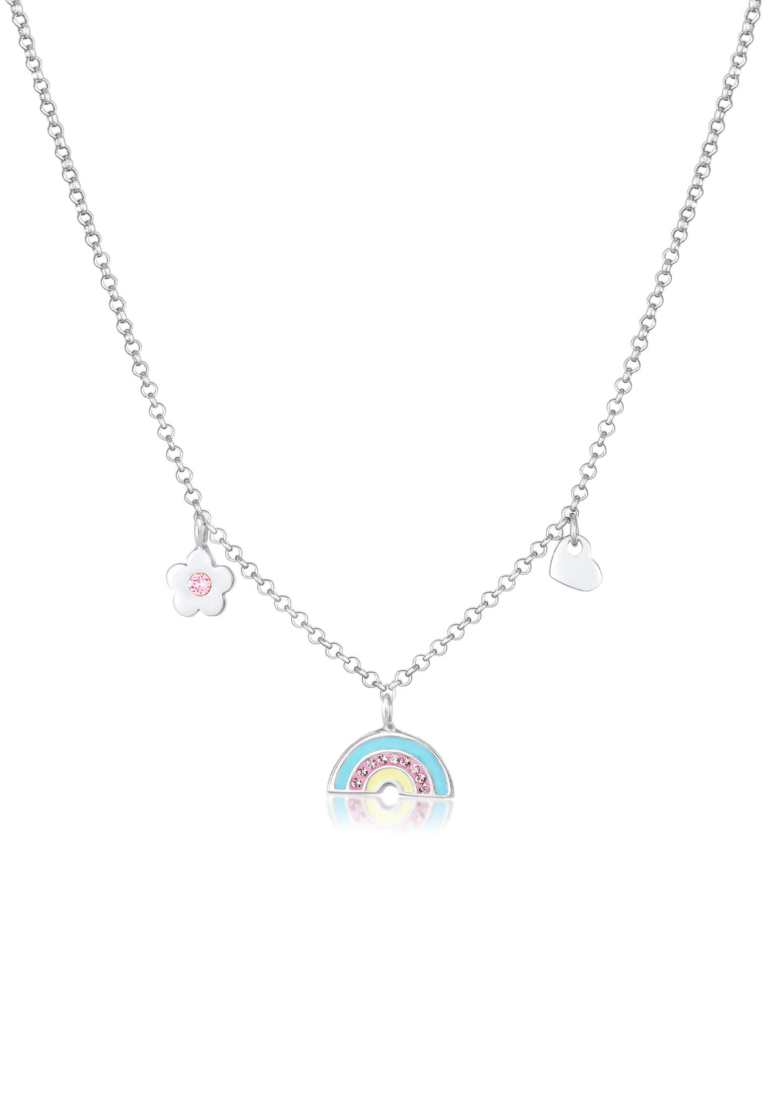 Halskette Blume | Kristall ( Rosa ) | 925er Sterling Silber
