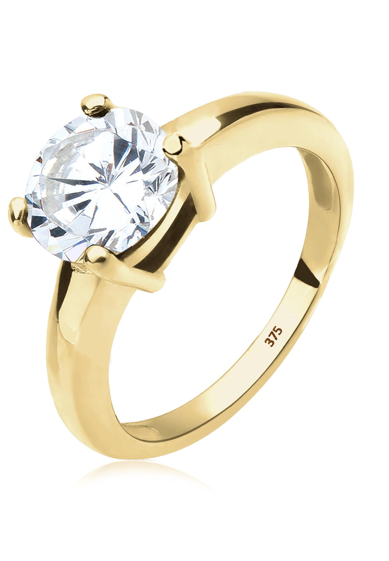 Solitär-Ring | Zirkonia ( Weiß ) | 375 Gelbgold