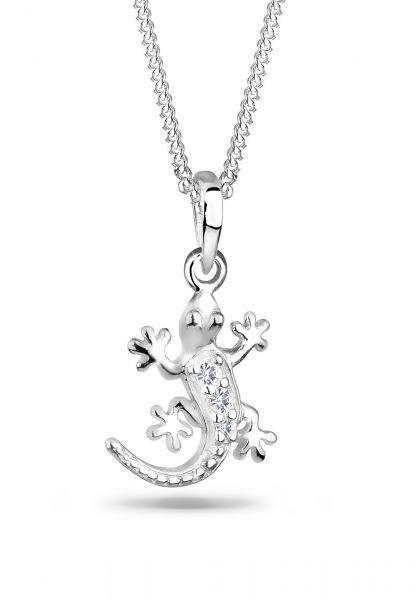 Halskette Eidechse | Kristall ( Weiß ) | 925er Sterling Silber