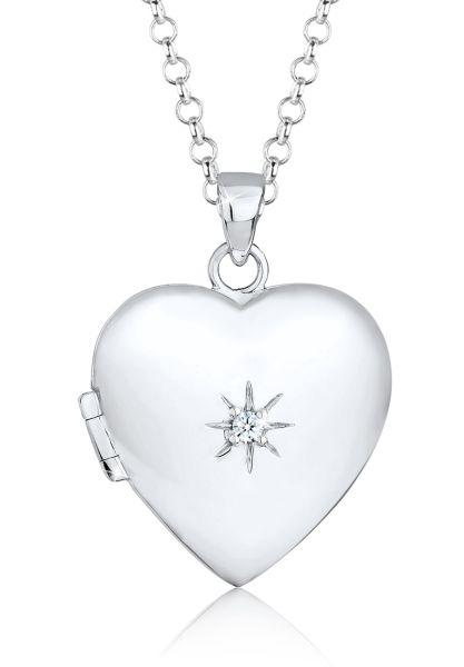 Elli PREMIUM Halskette Herz Amulett Diamant (0.03 ct) 925 Sterling Silber