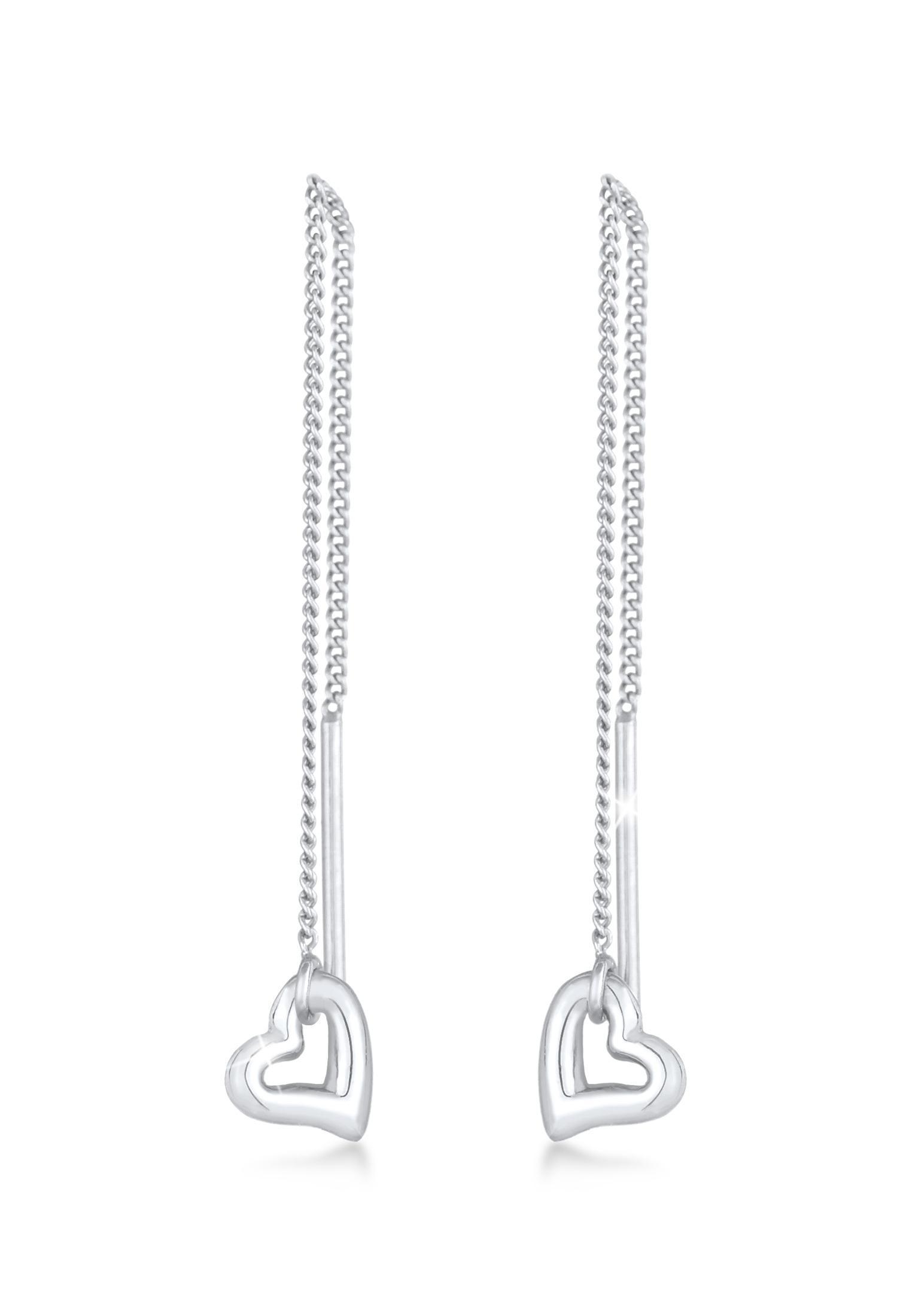 Durchzieh-Ohrringe Herz | 925er Sterling Silber