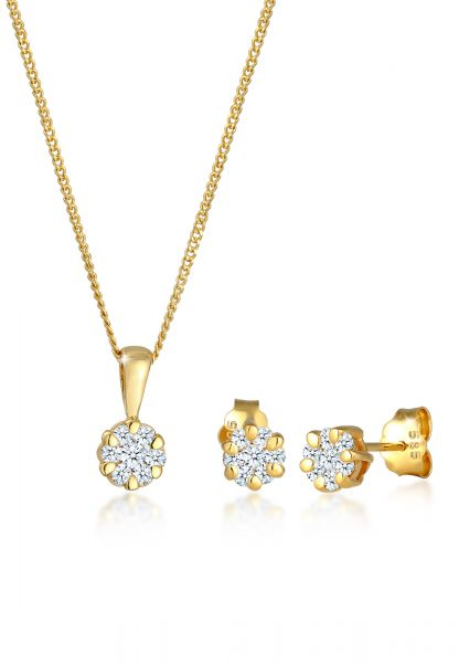 DIAMORE Schmuckset Blume Klassisch Diamanten (0.36 ct.) 585 Gelbgold