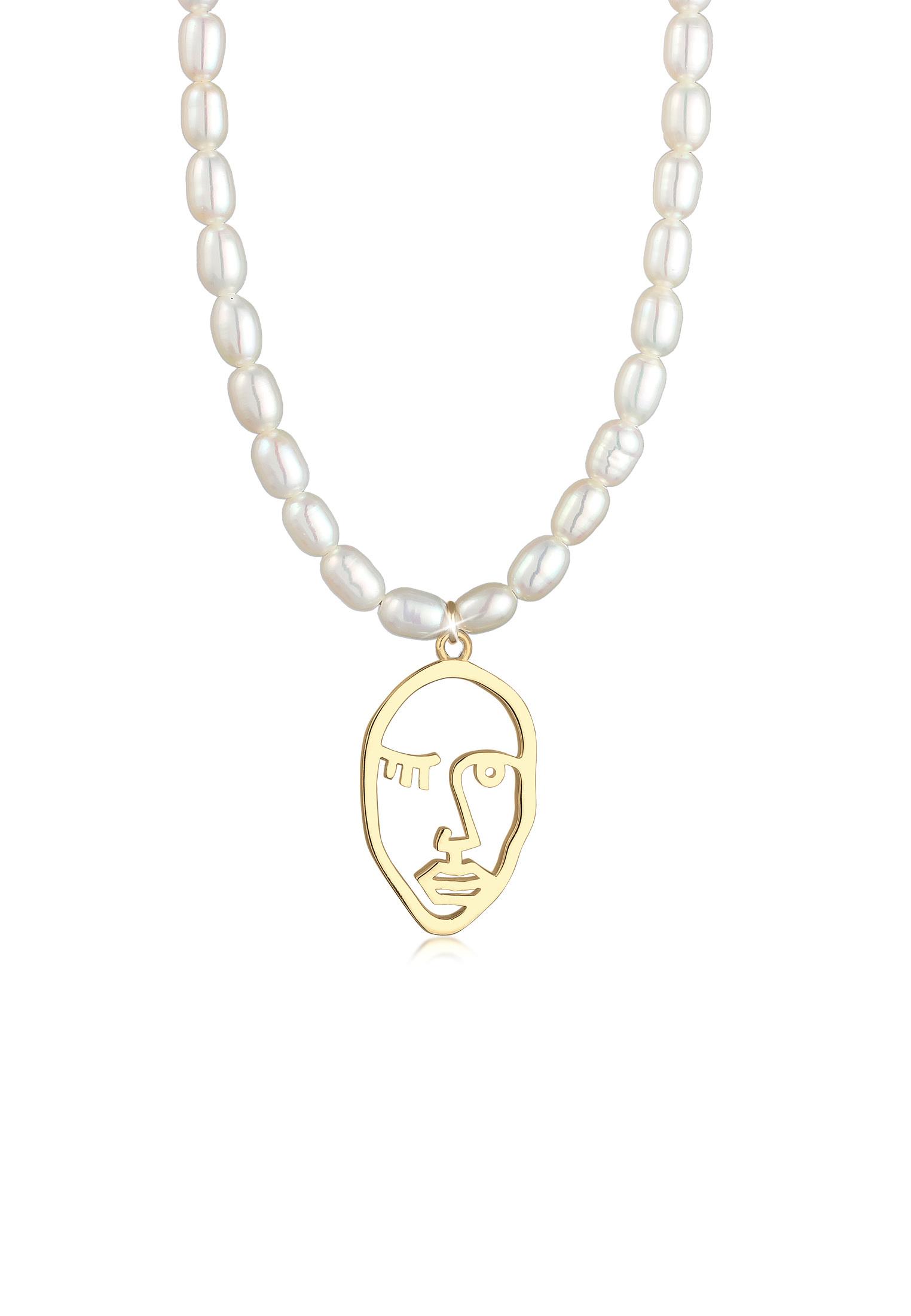 Glieder-Halskette Gesicht | Süßwasserperle | 925 Sterling Silber vergoldet