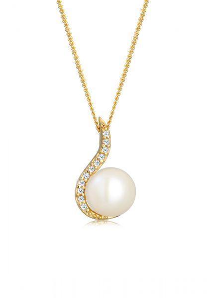 DIAMORE Halskette Klassisch Perle Diamant (0.055 ct.) 585 Gelbgold