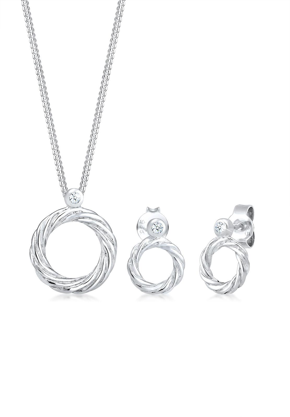 Schmuckset Kreis | Diamant ( Weiß, 0,045 ct ) | 925er Sterling Silber