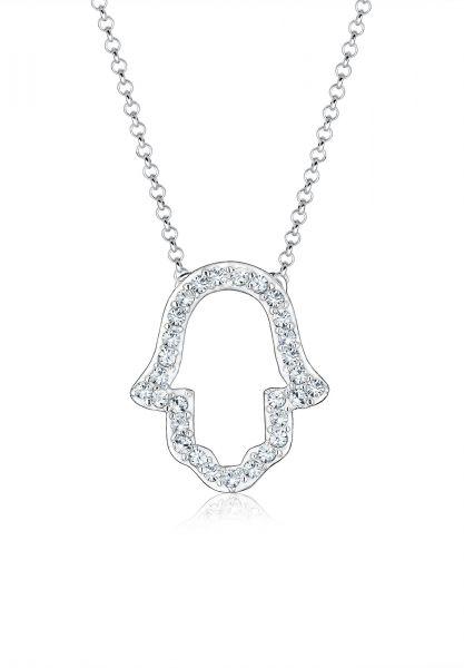 Elli Halskette Hand der Fatima Hamsa Hand Kristalle 925 Silber