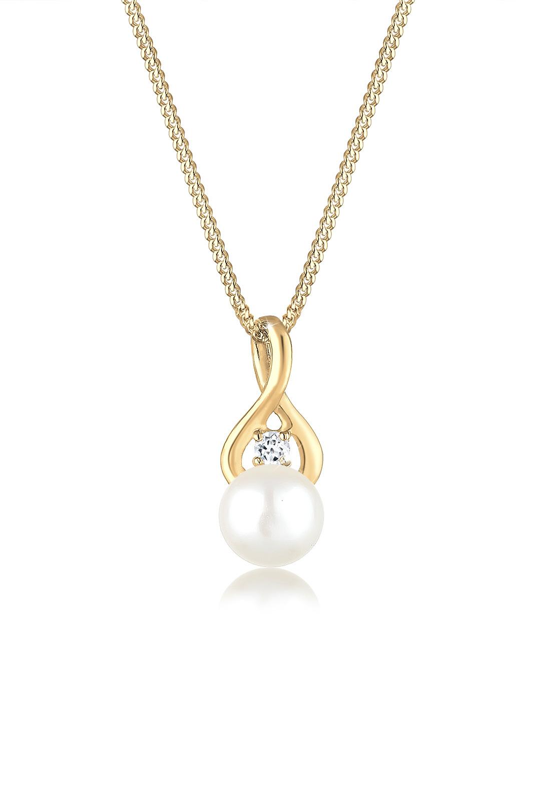 Halskette Infinity | Süßwasserperle, Topas ( Weiß ) | 585 Gelbgold