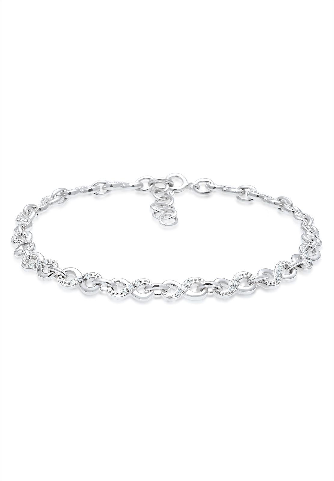 Glieder-Armband Infinity | Kristall ( Weiß ) | 925er Sterling Silber