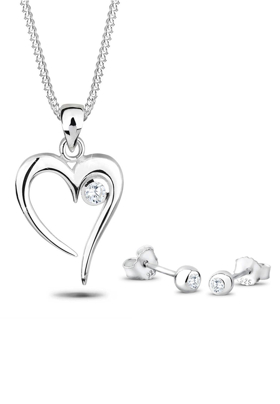 Schmuckset Herz | Zirkonia ( Weiß ) | 925er Sterling Silber