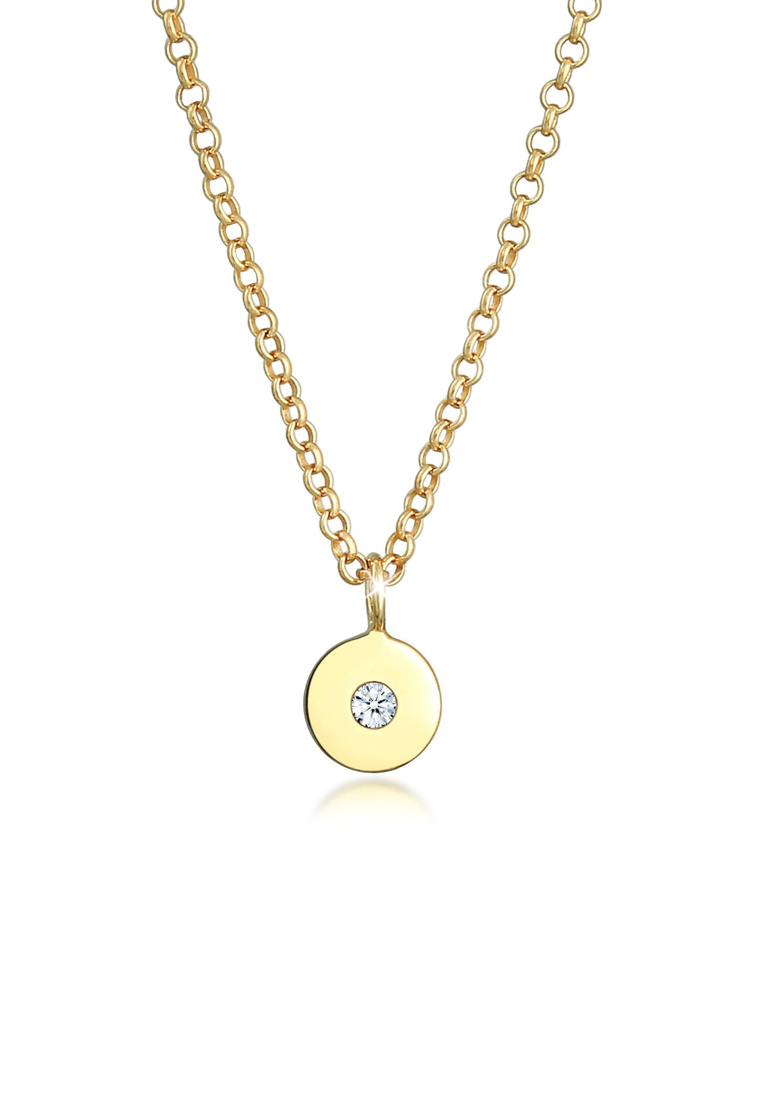 Halskette Geo   Diamant ( Weiß, 0,015 ct )   375 Gelbgold