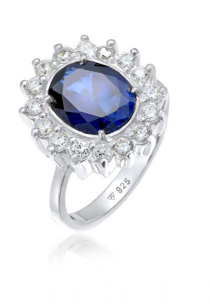 Elli Ring Cocktailring Saphirblau Royal Zirkonia 925 Silber