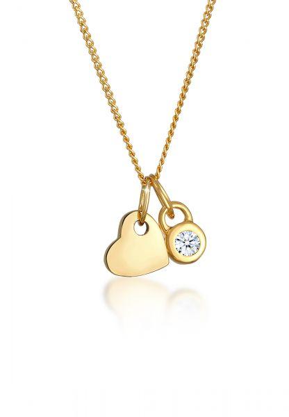 Halskette Herz   Diamant ( Weiß, 0,03 ct )   585 Gelbgold