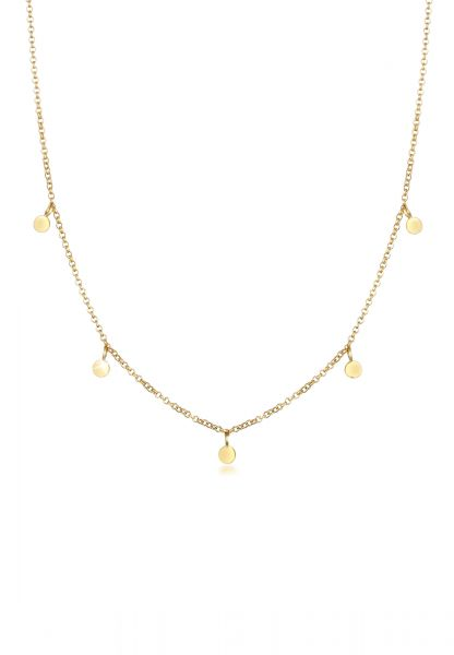 Halskette Geo Plättchen   375 Gelbgold