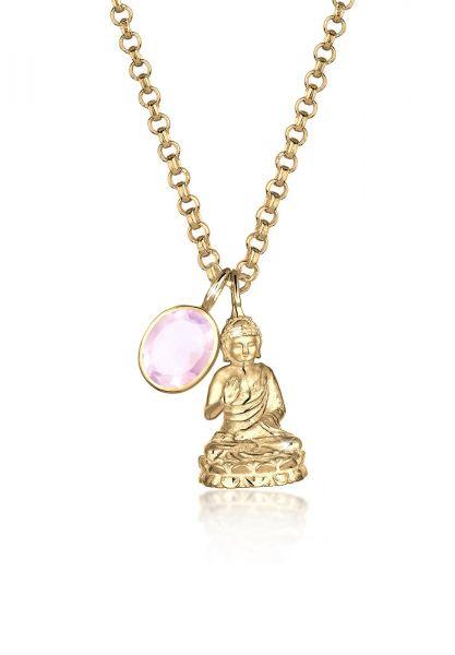 Elli PREMIUM Halskette Buddha Rosenquarz Edelstein 925 Sterling Silber