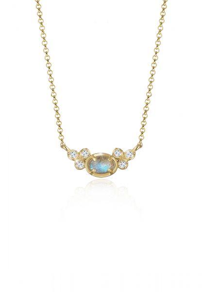 Elli Halskette Erbskette Topas Labradorit Edelstein 925 Silber