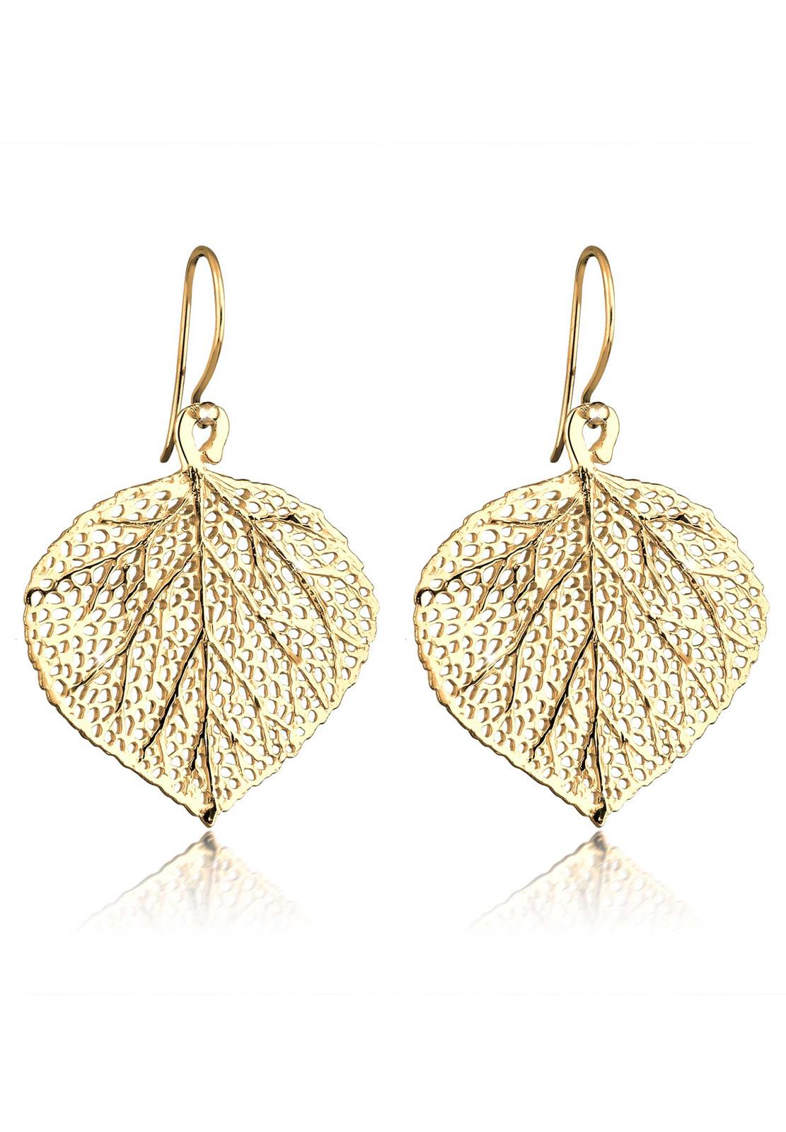 Ohrhänger Blatt | 925 Sterling Silber vergoldet