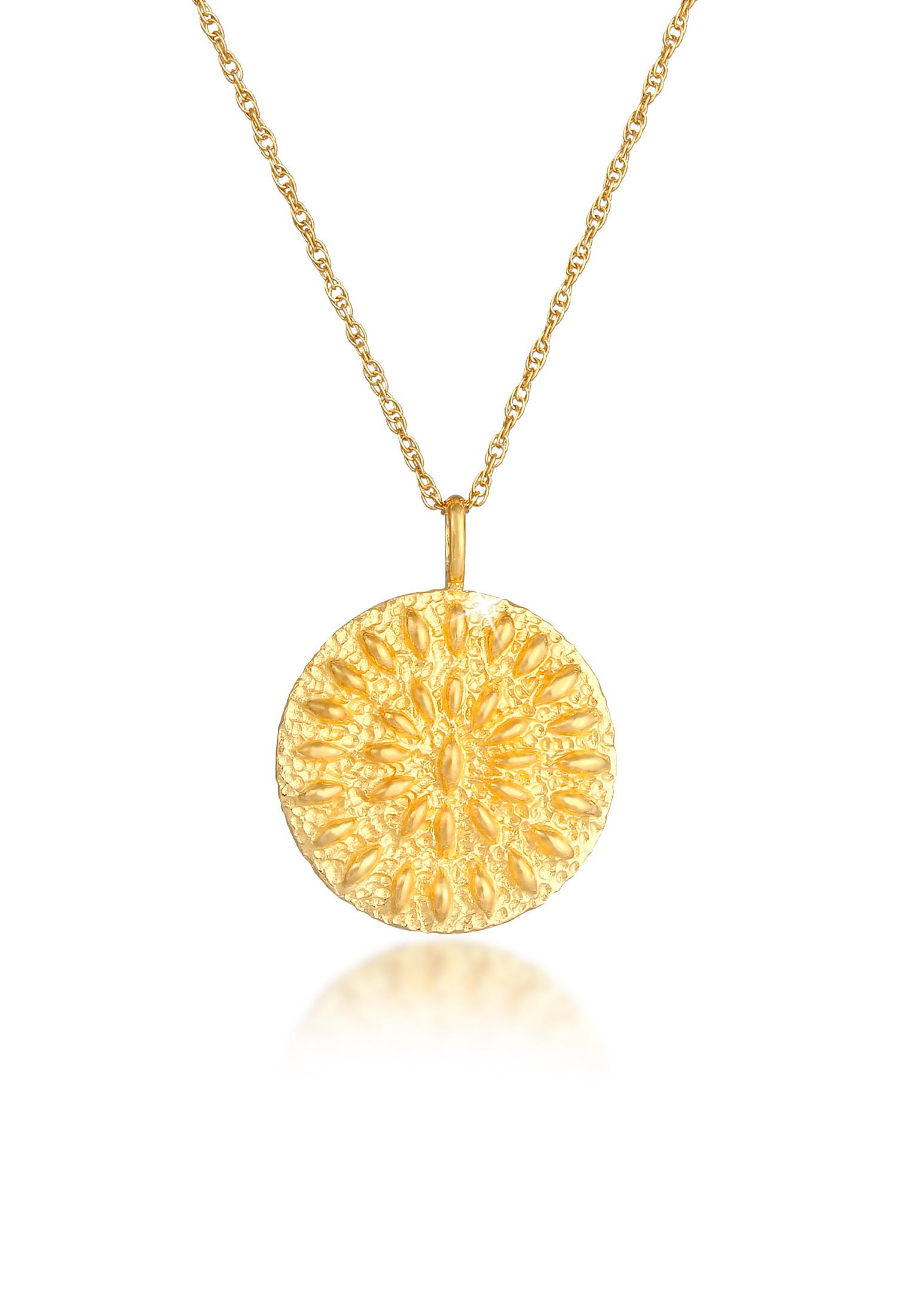 Lange Halskette Ornament | 925 Sterling Silber vergoldet