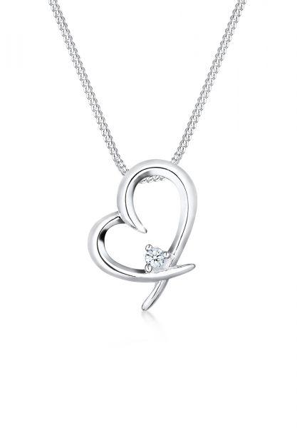 DIAMORE Halskette Herz Verbunden Diamant (0.03 ct.) 925 Silber