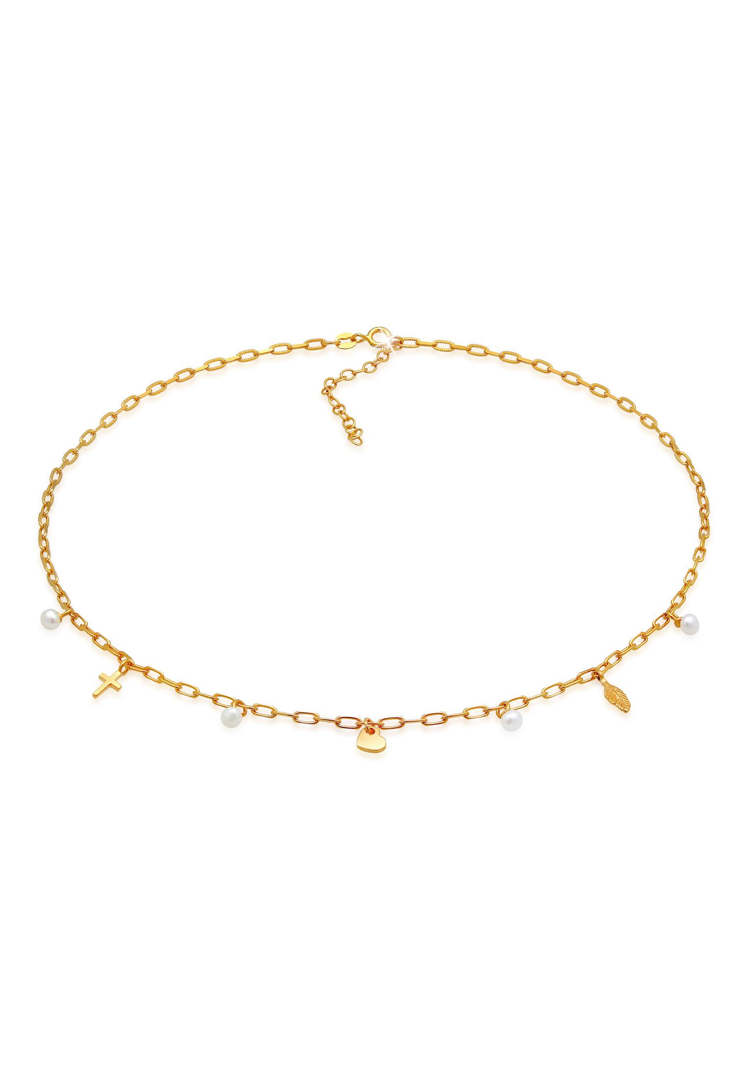 Halskette Kreuz Feder Herz   Süßwasserperle   925er Sterling Silber