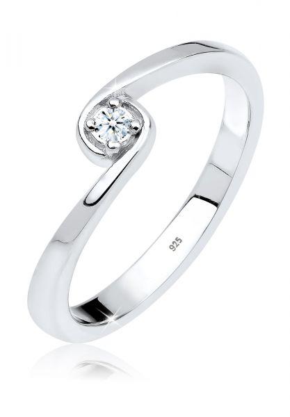 DIAMORE Ring Solitär Verlobung Diamant 0.03 ct. 925 Silber