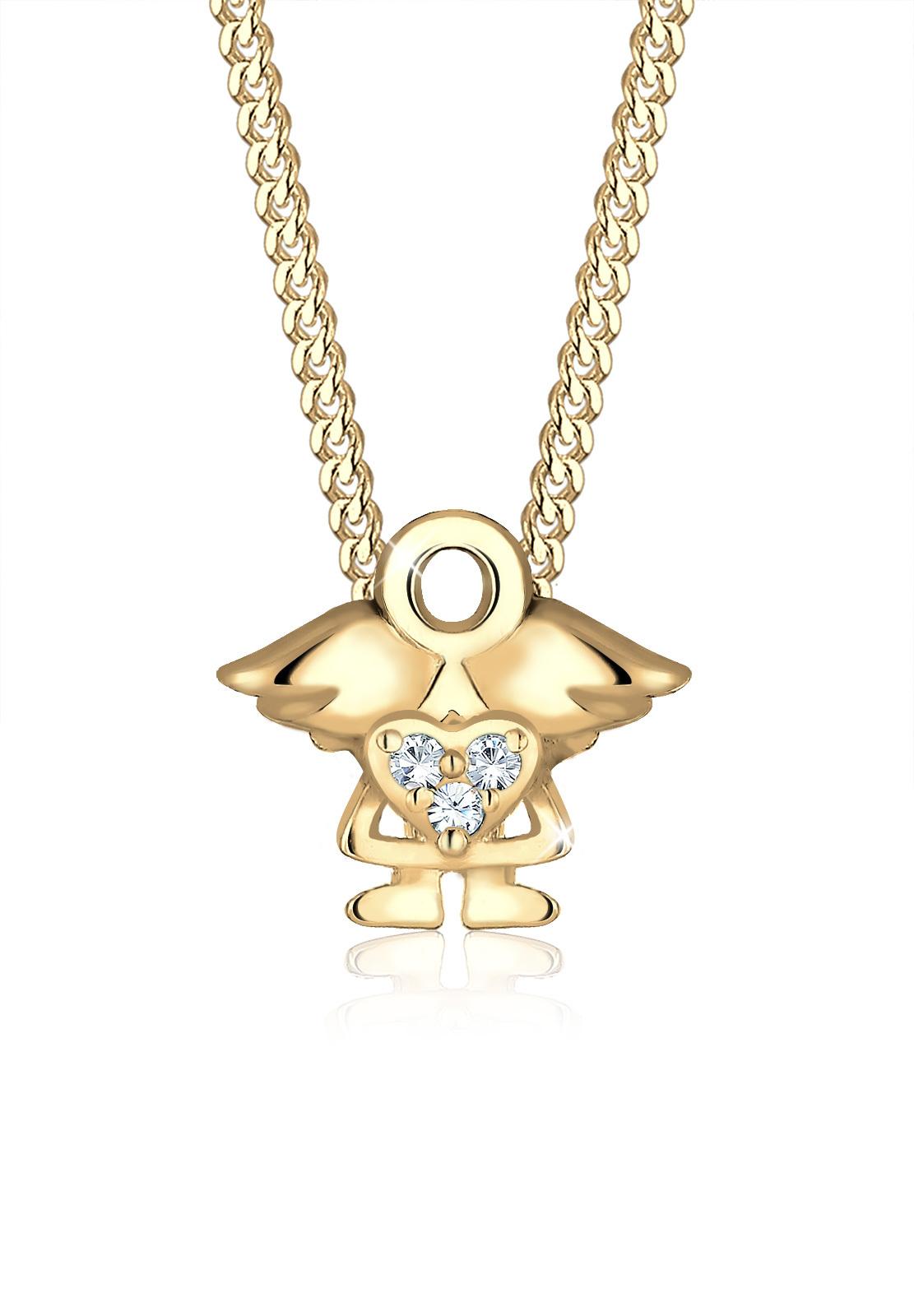 Halskette Engel | Kristall ( Weiß ) | 925 Sterling Silber vergoldet