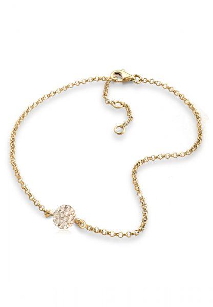 Fußkettchen Kugel   Kristall ( Gold )   925 Sterling Silber vergoldet