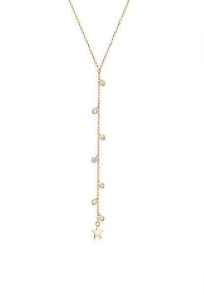 Y-Halskette Stern | Kristall ( Weiß ) | 925 Sterling Silber vergoldet
