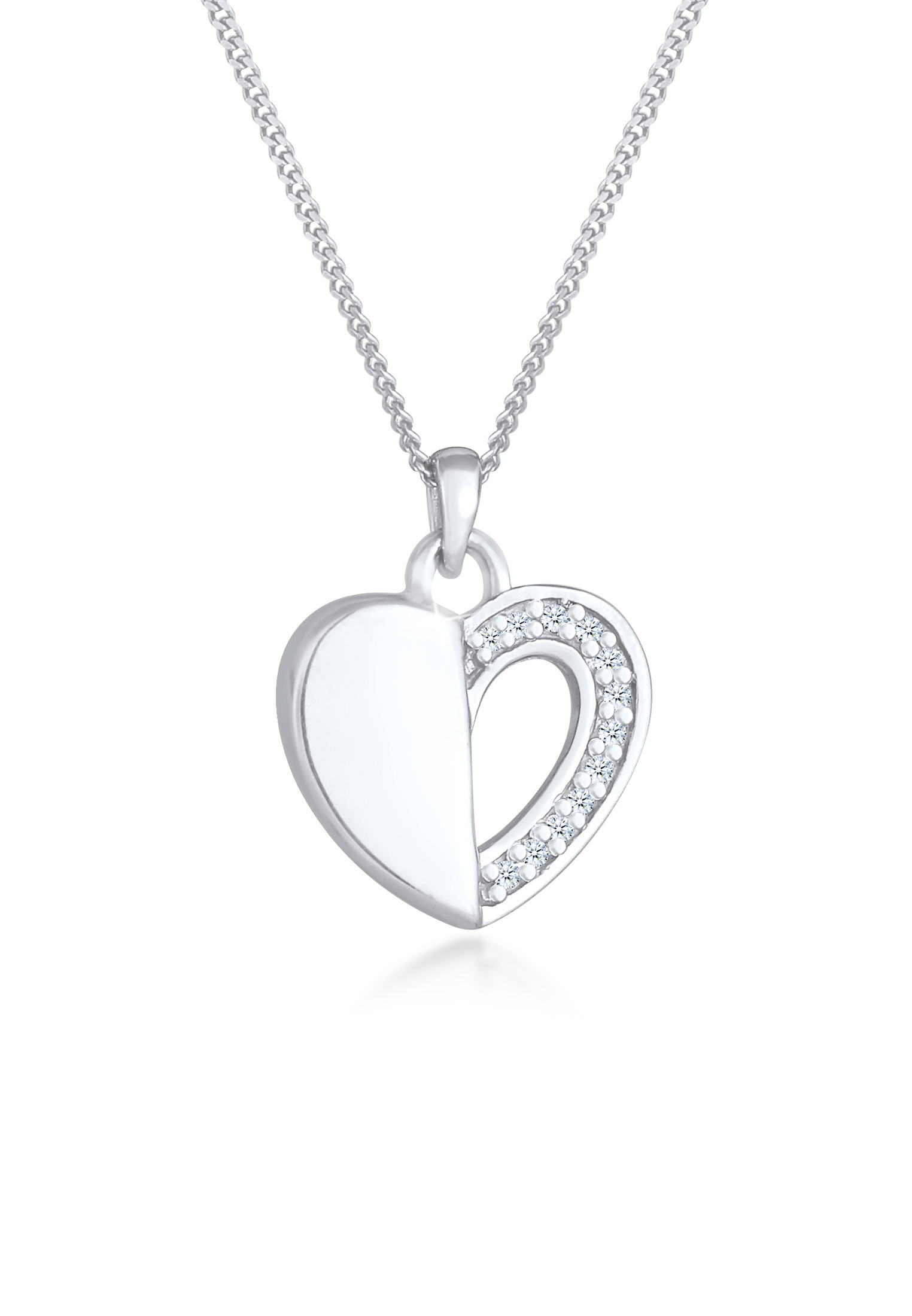 Halskette | Diamant ( Weiß, 0,06 ct ) | 925er Sterling Silber