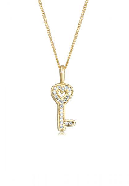 Halskette Schlüssel | Diamant ( Weiß, 0,1 ct ) | 585 Gelbgold