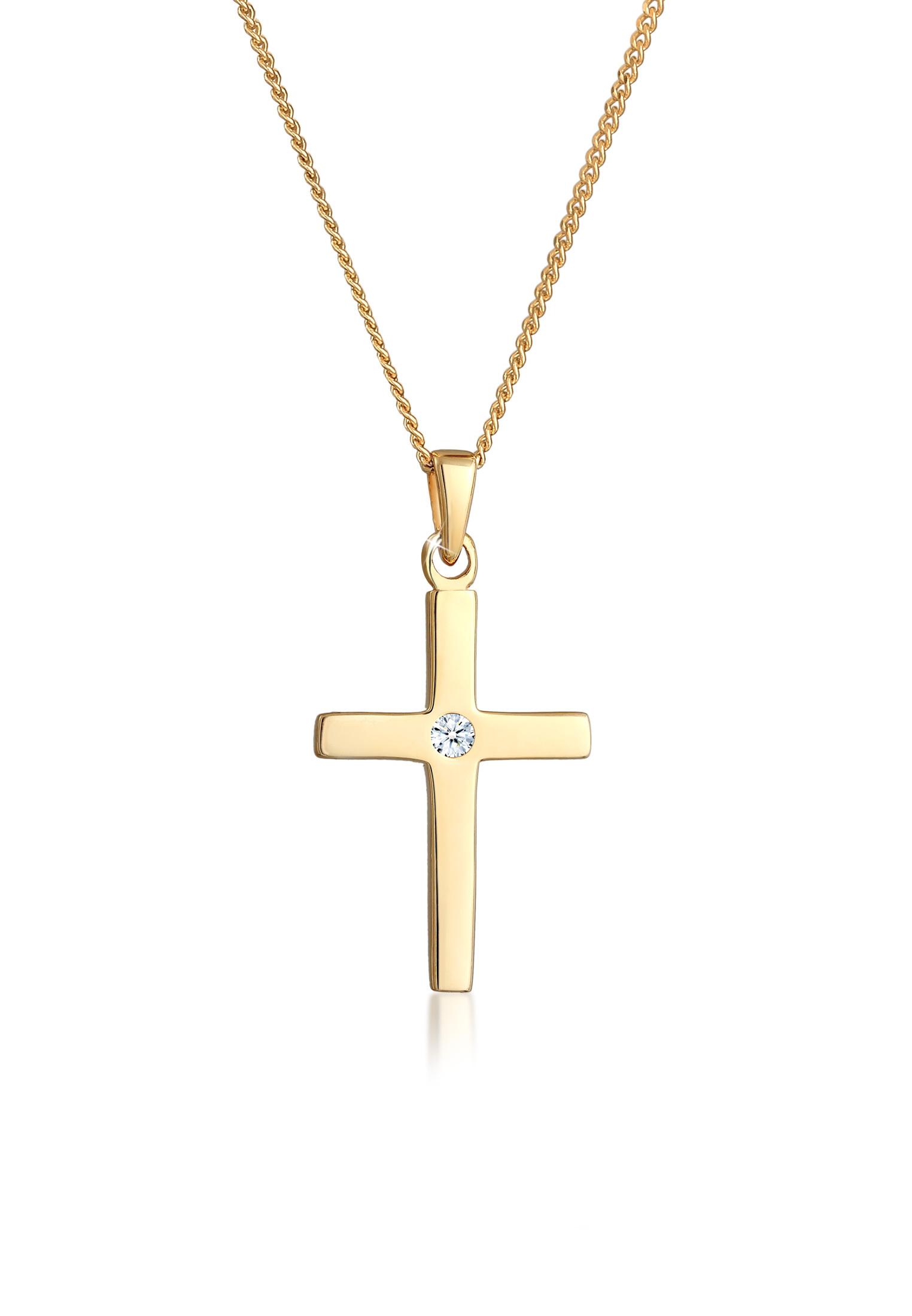 Halskette Kreuz | Diamant ( Weiß, 0,015 ct ) | 585 Gelbgold