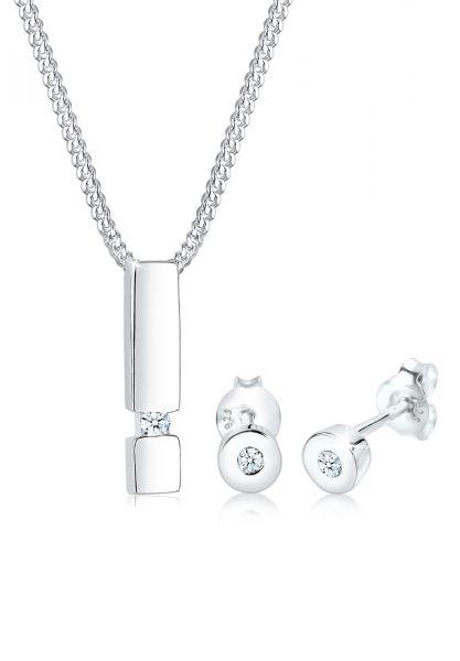 Schmuckset Geo | Diamant ( Weiß, 0,09 ct ) | 925er Sterling Silber