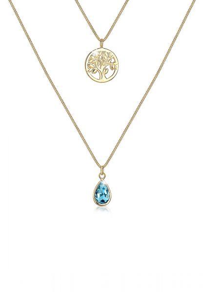 Halskette   Kristall ( Hellblau )   925 Sterling Silber vergoldet