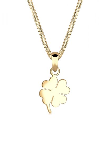 Elli PREMIUM Halskette Kleeblatt Glücksbringer Talisman 585 Gelbgold